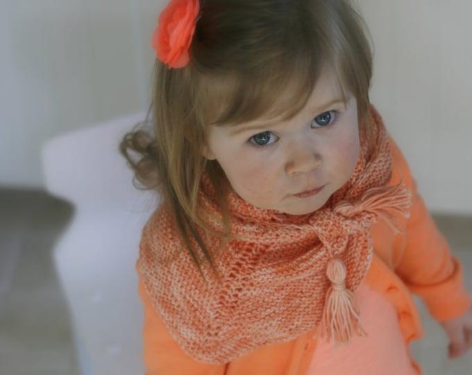 KNITTING PATTERN shawl wrap Sara (toddler, child, adult sizes) with tassels