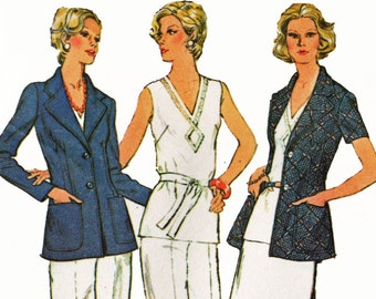 Short Sleeve Jacket Pattern Skirt Pants and V Neck Top Vintage 1970s Sewing Pattern McCalls 4019 Bust 38