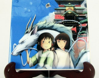 Spirited Away Studio Ghibli collectible tile Hayao Miyazaki cute Ghibli gift idea Spirited Away Haku and Chihiro
