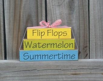 Summer Decor, Summer Wood Decor, Summer Stacker, Flip flops, watermelon, summertime