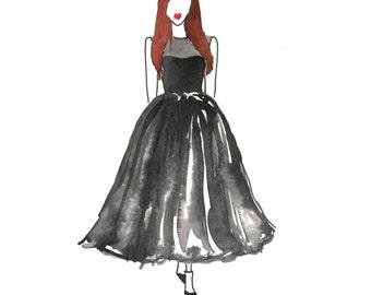 Black Tea Length Watercolor Dress Fashion Illustration