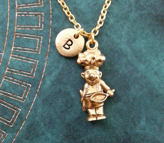 chef necklace small gold chef jewelry chef gift personalized