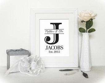 Custom Established Printable - Wedding Anniversary Present - Custom Printable - Bridal Shower Gift