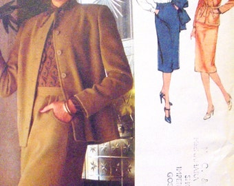 1970s Skirt, Blouse and Unlined Cardigan Jacket Simplicity 9185 Size 12 Bust 34 Misses' Vintage Sewing Pattern Office Business Suit UNCUT