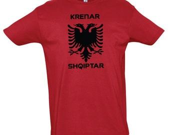 T-Shirt Albanian Eagle Krenar Shqiptar Red Men and Kids 12yrs