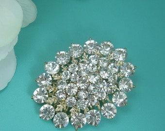 Crystal Gold Rhinestone Brooch, Wedding Brooch, Bridal Brooch, wedding brooches, wedding dress pin, bridal pin, silver brooch pin