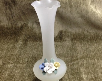 Frosted Glass Vase with Roses, Opaque White Glass Vase with Flowers,