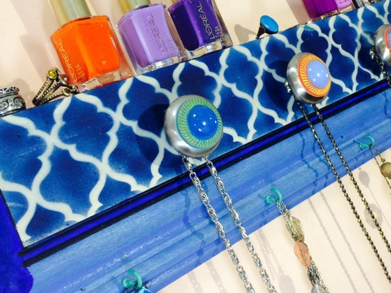 Recycled wood crown molding necklace holder /jewelry hanger wall organizer storage morrocan decor cobalt blue quatrefoil 9 hooks 8 knobs