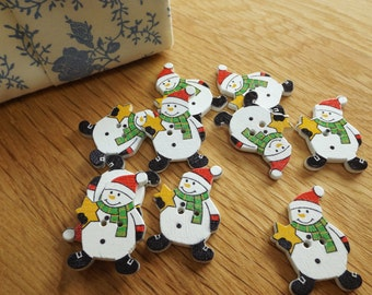 pack of 10 snowman buttons, 30mm at longest point, great for christmas crafts
