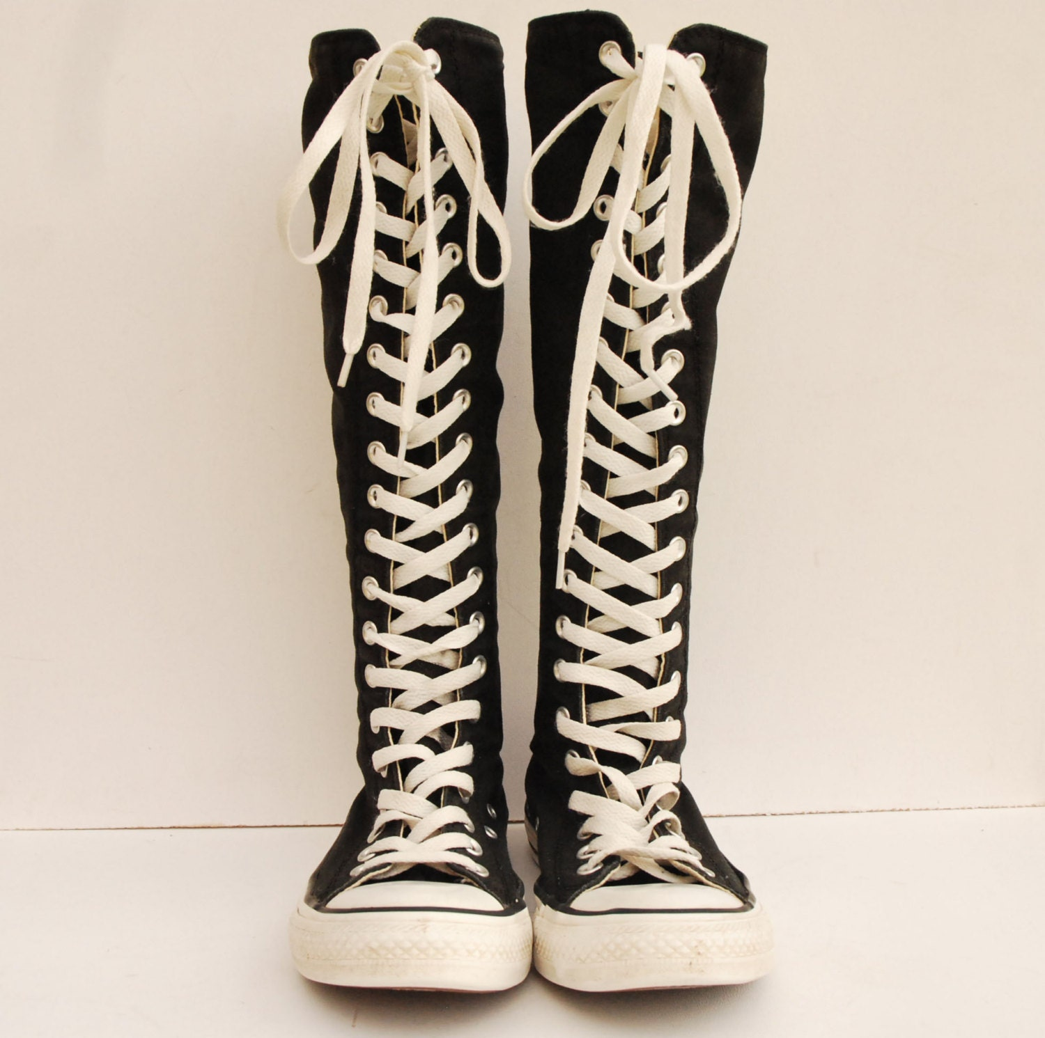 converse black canvas boots lace up knee high back zip