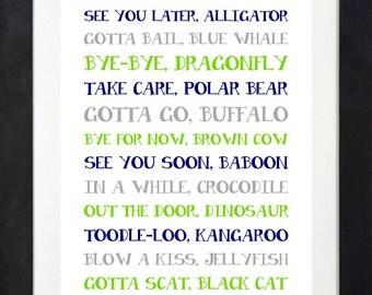 Alligator Nursery // Goodbye Sign // Nursery Rhymes // In A While, Crocodile // Nursery Wall Art // Choose Your Colors