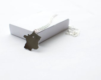 State Necklace! I love France Necklace! Sterling silver chain