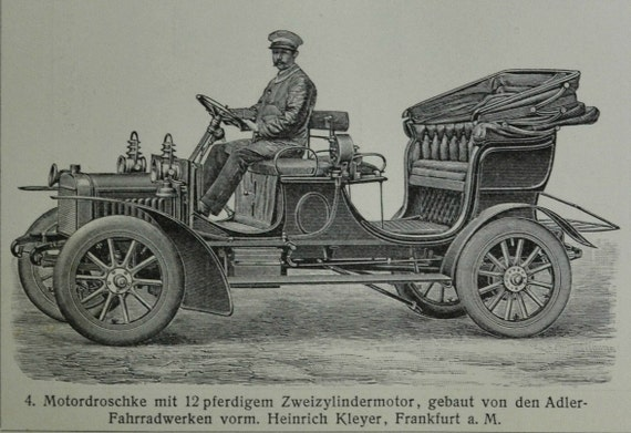 Old vehicles engraving. Ancient cars.  Old book plate, 1904. Antique  illustration. 110 years lithograph. 9'6 x 6'2 inches.