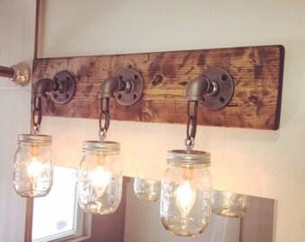 Bathroom Vanity Mason Jar Light mason jar light fixture industrial light light rustic