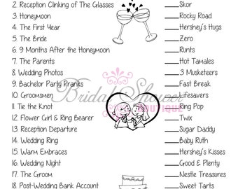 Wedding Candy Match Bridal Shower Game TURQUOISE -Fun, Detailed, & Cute!