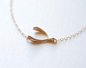 Gold Sideways Wishbone Necklace - Lucky wishbone necklace, Gold Wishbone Necklace, Simple Dainty Jewelry by HeirloomEnvy