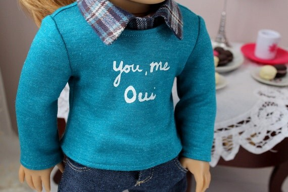 "You, Me, Oui Sweater and Collar for American Girl or 18"" Doll"