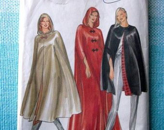 1980s Butterick 3361 Sewing Pattern Ladies Misses Cape Hood Hoodie Outerwear Evening Wear Costume Size Medium Bust 34-36