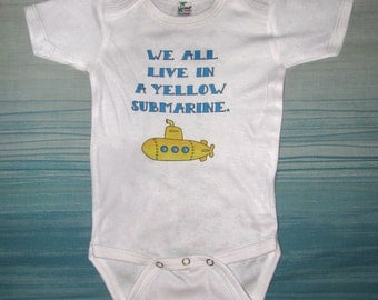 Cute Baby, Baby bodysuit, Kids Clothes, Yellow Submarine, Beatles Baby, Beatles Song, Ocean, Sea, Nautical, Sub, Girl, Boy, The Beatles