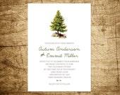 Printable Wedding Invitation - Woodland Retreat - Mountain Rustic Woodgrain Background - Pine Tree