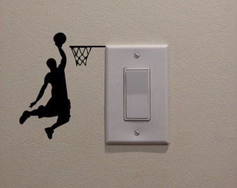 "Male Basketball Player Dunking on Light Switch (3.8""W x 4.75""H) - Bedroom/Home Decor/Wall Art/Sportsroom/Mancave/Boys Room Decal"