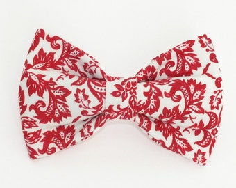 Red Damask Dog Bow Tie
