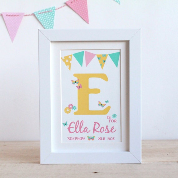 Personalised baby girls butterfly name frame print like this item negle Image collections