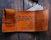 Mens Leather Wallet, Walter Mitty Wallet, Mens Custom Wallet, Graduation Gift, Mens Anniversary Gift (Mahogany Color)