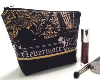 Gothic Makeup Bag, Large Makeup Bag, Raven Bag Skull Cosmetic Bag, Makeup Storage Goth Makeup Bag, Travel Bag, Nevermore Bag, Toiletry Bag