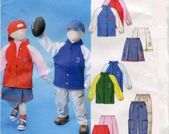 Boys Girls Team Jacket Pleated Skirt Cargo Pants Pattern McCalls M4583 Size 3 4 5 6 UNCUT