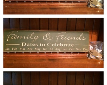 """Custom Carved Wooden Sign - """"Family & Friends, Dates to Celebrate - BIRTHDAY BOARD"""" - 24""""x6"""""""