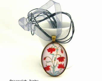 Indian Flower Tile Glass Pendant Necklace A