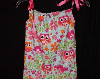 Pink, Owl Pillowcase Dress