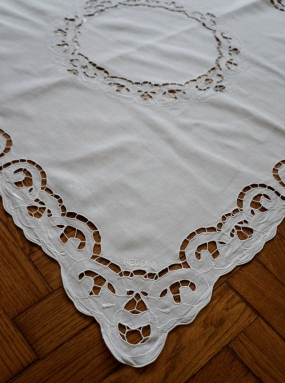 Vintage White Table Cloth Eyelet Embroidery With By