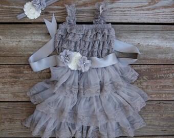 Lace flower girl dress. Gray flower girl dress. Country wedding. Rustic flowergirl dress. Toddler dress. Gray lace dress. Ruffle dress.