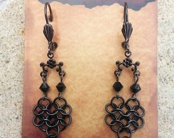 Gunmetal Swarovski Austrian Crystal Earrings, Renaissance Medieval Chainmaille Earrings Jewelry, Black Crystal Earring Chain Mail