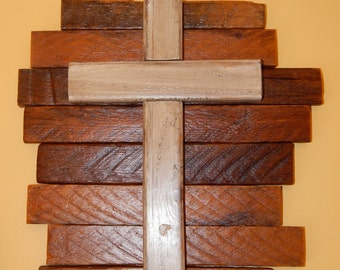 Wooden Cross with Tobacco Stick Backing