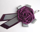 Plum Rose Safety Reflector - Woman Bag Charm - Feminine Bag Backpack Accesories - Rose Flower Pin - Rose Brooch Broche - Glow in the Dark
