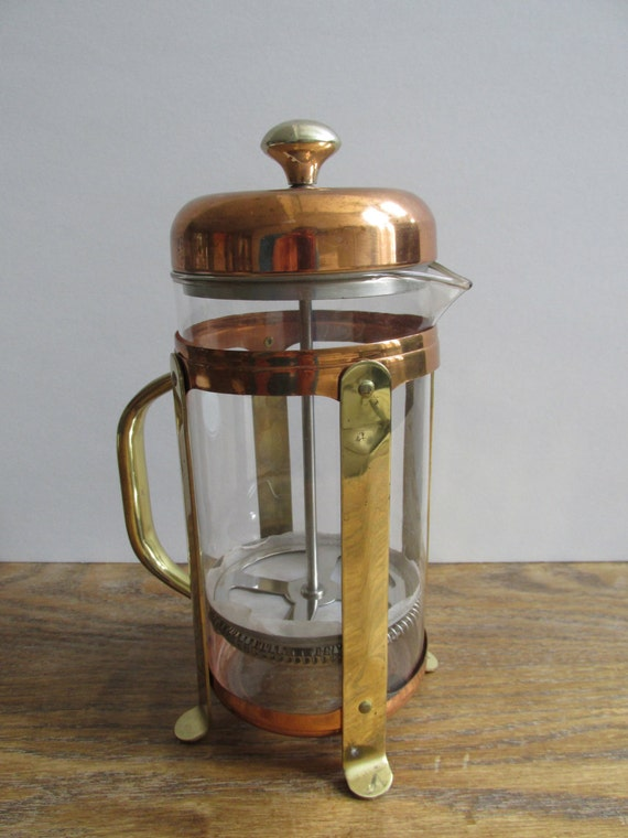 Vintage French Press Coffee Maker In Brass And Copper