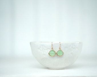 Mint Green and Gold Teardrop Earrings | Bridesmaid Earrings | Wedding Jewelry