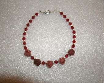 SALE! Bracelet of Carved Roses (Goldstone)  and Swarovski Crystals in Red,  OOAK, great gift, handmade , feminine, red, roses, for her,