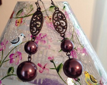 Victorian Style Vintage Purple and Brass Dangle Earrings