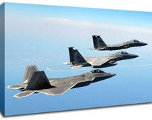 F22 Raptor Fighter Jet Canvas Art, Picture Print A1