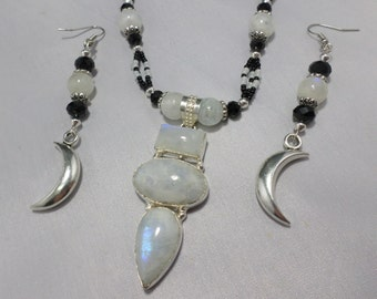 Gorgeous Beaded Rainbow Moonstone Necklace with Matching Crescent Moon Earrings