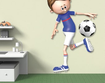 Wall decals soccer player A422 - Stickers footballeur football A422
