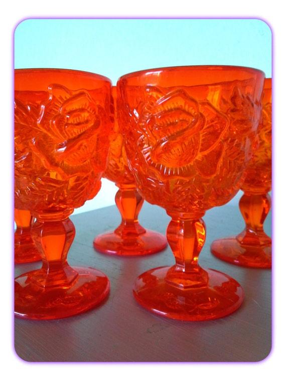 Vintage Fenton Orange Amberina Madonna Inn Water Goblets Set