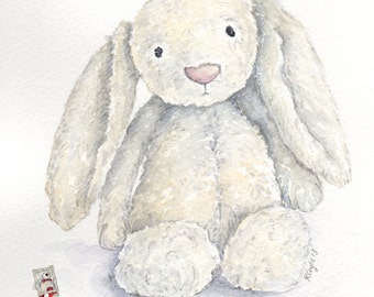 JellyCat Bashful Bunny - Print from original watercolour painting(un- mounted)