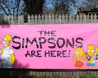 Vintage 1990 Simpsons Burger King Vinyl Outdoor Promotional Banner - 12' x 4' - Ultra Rare Early Simpsons Collectible!