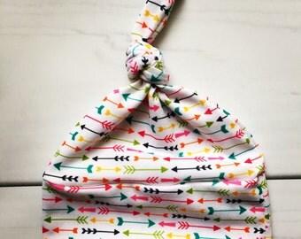 Modern Baby Knot Hat, Newborn hat, modern rainbow arrow fabric, going home outfit