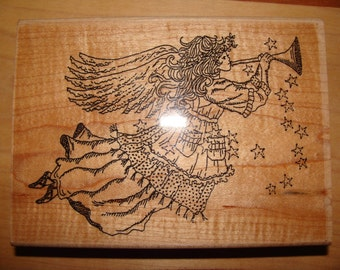Country Stars and Musical Angel Rubber Stamp Large Wood Vintage